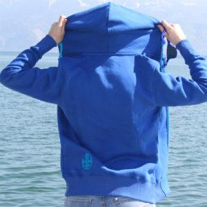 Sweat bleu à capuche 1-JOSS