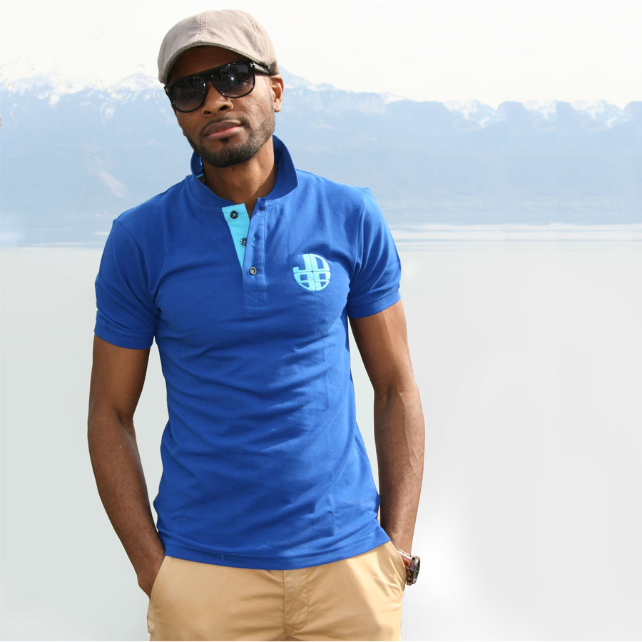 Polo bleu slim fit-JOSS